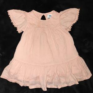 Flutter sleeve lace peach dress